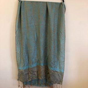 Blue and Beige Pashmina Scarf